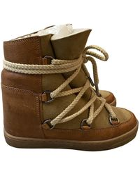 Isabel Marant Nowles Leather Snow Boots - Natural