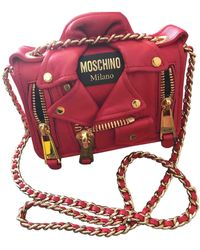 Moschino Biker Red Leather Handbag