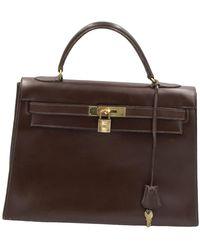Hermès Kelly 32 Brown Leather Handbag