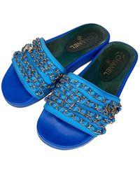 Chanel Cloth Mules - Blue