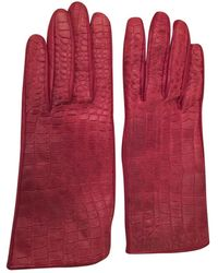 Burberry Burgundy Leather Gloves - Red
