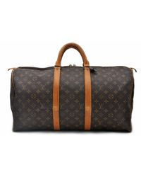 Louis Vuitton Keepall Leinen Reisetaschen - Braun