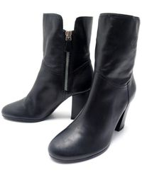 Chanel - \n Black Leather Ankle Boots - Lyst