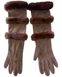 Hermès Guantes en visón marrón