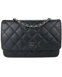 6fa4a699c4aba9 Lyst - Chanel Pre-owned Wallet On Chain Patent Leather Handbag in Black