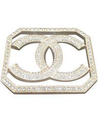 Chanel Spilla in metallo dorato CC - Multicolore
