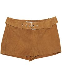 Céline - Pre-owned Camel Suede Shorts - Lyst