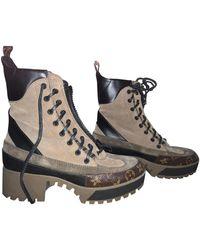 Louis Vuitton Stivaletti in pelle marrone Laureate ankle