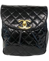 Chanel \n Black Patent Leather Backpack