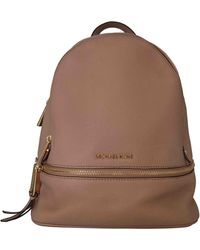 Michael Kors Rhea Pink Leather Backpack - Brown