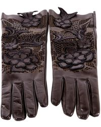 Valentino Black Leather Gloves