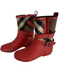 Burberry Wellington Boots - Red