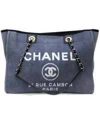 Chanel Deauville Leinen Shopper - Blau