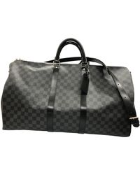 Louis Vuitton Keepall Leinen Reise tasche - Grau
