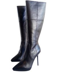 Burberry Leather Western Boots - Black