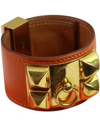 Hermès - Collier De Chien Orange Leather Bracelets - Lyst