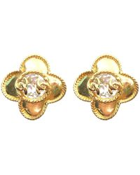 Chanel - Pre-owned Vintage Gold Gold Plated Earrings - Lyst