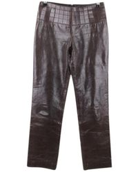 Chanel Leather Straight Pants - Brown