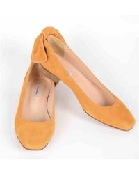 Carven Yellow Suede Ballet Flats