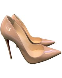 Christian Louboutin Pigalle Patent Leather Heels - Natural