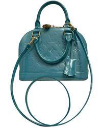 Louis Vuitton Sac à main Alma BB en Cuir verni Turquoise - Bleu