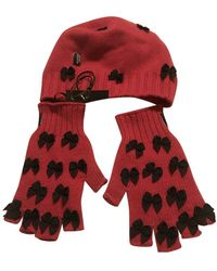 Moschino Red Wool Gloves