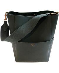 Celine Seau Sangle Leather Handbag - Green