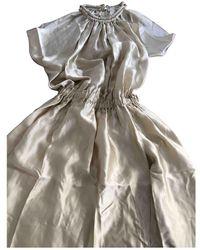 Lanvin Beige Silk Dress - Natural