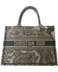 Dior Book Tote Leinen Shopper - Grau