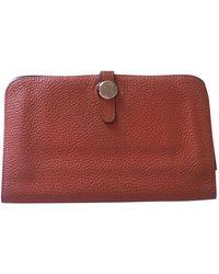Hermès Dogon Leather Wallet - Orange