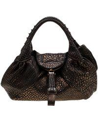 Fendi Spy Metallic Leather Handbag