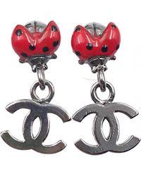 Chanel - Red Metal Earrings - Lyst