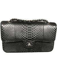 Chanel - Timeless Black Python Handbag - Lyst