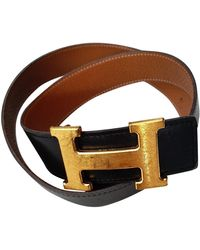 Hermès H Leder Gürtel - Schwarz