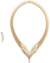 Dior - Vintage Gold Metal Necklace - Lyst