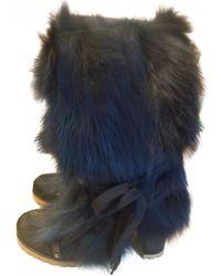 Chloé \n Blue Faux Fur Boots