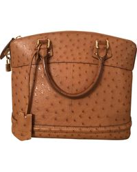 Louis Vuitton Borsa a mano in struzzo cammello Lockit - Marrone