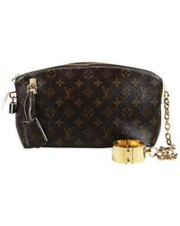 980a9499bda2 Vestiaire Collective · Louis Vuitton - Pre-owned Lockit Brown Cloth Clutch  Bags - Lyst