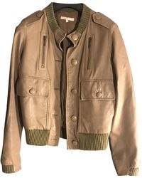 Maje Brown Leather Leather Jacket
