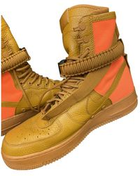 Nike Sf Air Force 1 Leather Sneakers - Orange