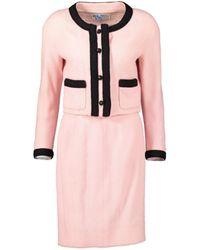 Chanel Mini vestido Tweed - Rosa