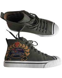 Burberry Khaki Cloth Sneakers - Multicolor