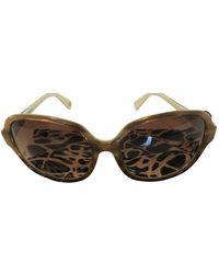 Diane von Furstenberg Beige Plastic Sunglasses - Natural
