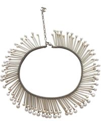 Chanel - White Metal Necklace - Lyst
