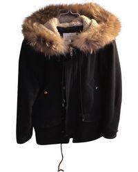 Sandro - Black Polyester Coat - Lyst