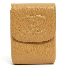 Chanel Timeless/classique Beige Leather Clutch Bag - Natural