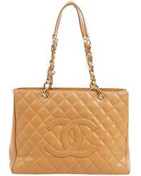 Chanel Sac à main Grand shopping en Cuir Beige - Neutre