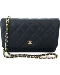 898478ab41c0 Lyst - Chanel Pre-owned Wallet On Chain Leather Clutch Bag in Black