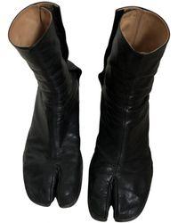 Maison Margiela Tabi Leather Boots - Black
