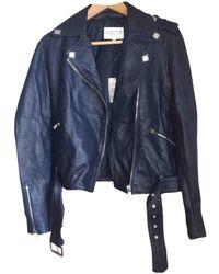 Claudie Pierlot Blue Leather Jacket